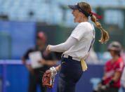 United States' Monica Abbott reacts during the softball game between the United States and Canada at the 2020 Summer Olympics, Thursday, July 22, 2021, in Fukushima , Japan. (AP Photo/Jae C. Hong)