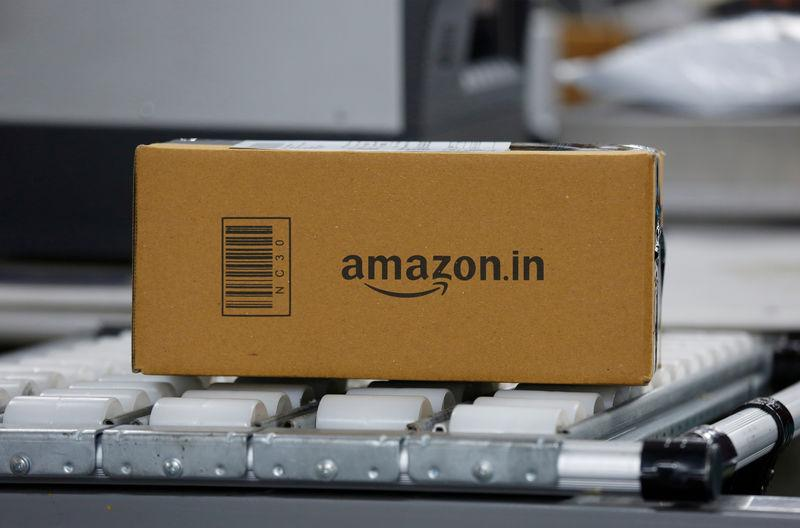 FILE PHOTO: A shipment moves on a conveyor belt at an Amazon Fulfillment Centre (BLR7) on the outskirts of Bengaluru