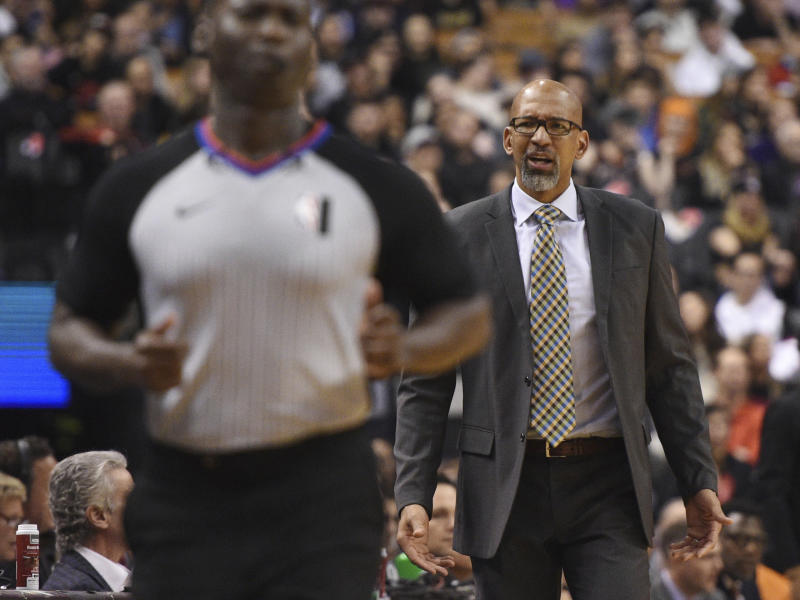 Phoenix Suns coach Monty Williams looks toward an official during the second half of the team's NBA basketball game against the Toronto Raptors on Friday, Feb. 21, 2020, in Toronto. (Frank Gunn/The Canadian Press via AP)