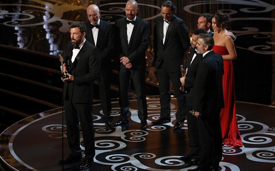 The cast and crew of Argo on stage at the 2013 Academy Awards - WireImage