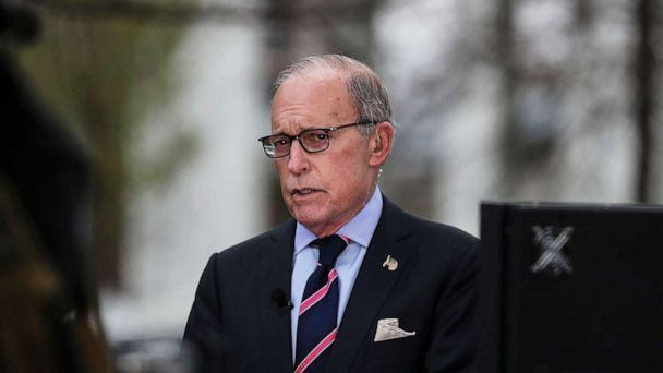 PHOTO: Director of the United States National Economic Council Larry Kudlow participates in a TV interview at the White House, in Washington, March 24, 2020. (Oliver Contreras/POOL/EPA via Shutterstock)