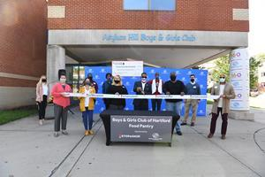 Ribbon Cutting Event commemorating Stop & Shop's $75,000 grant to the Boys  & Girls Club of Hartford funding food security and nutritional education programs.