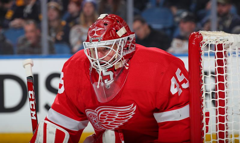 Jonathan Bernier #45 of the Detroit Red Wings