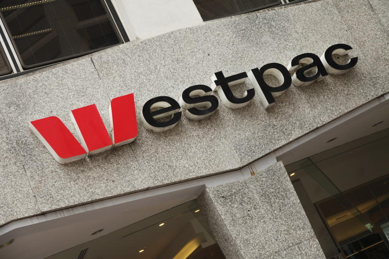 Westpac's logo on a building in downtown Brisbane, Australia.