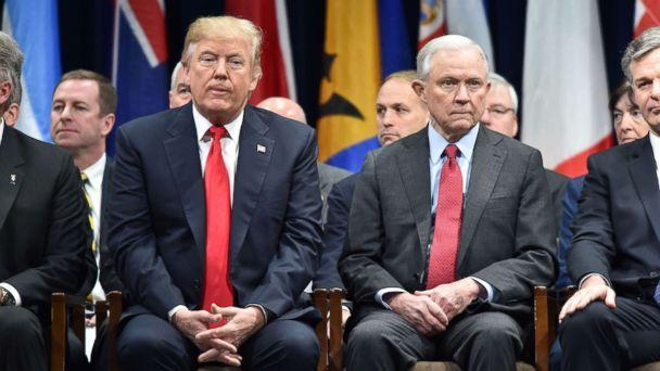 PHOTO: President Donald Trump sits with Attorney General Jeff Session, Dec. 15, 2017, in Quantico, Va., before participating in the FBI National Academy graduation ceremony. (Nicholas Kamm/AFP/Getty Images)