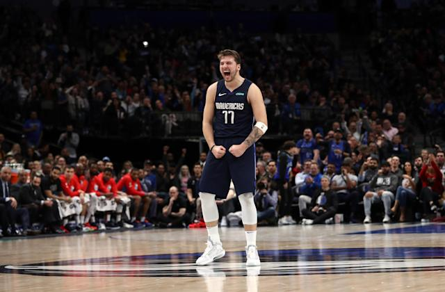 Luka Doncic #77 of the Dallas Mavericks reacts during play against the Sacramento Kings in the second half at American Airlines Center on February 12, 2020 in Dallas, Texas. (Ronald Martinez/Getty Images)