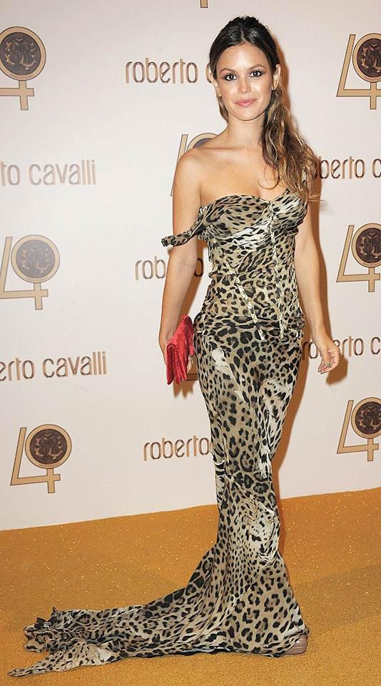 "Across the pond in Paris, former ""O.C."" star Rachel Bilson celebrated Roberto Cavalli's 40 years in the fashion industry by wearing one of the legendary designer's leopard-print gowns to his fabulous fete, held at Ecole Nationale Superieure des Beaux-Arts. Dominique Charriau/<a href=""http://www.wireimage.com"" target=""new"">WireImage.com</a> - September 29, 2010"