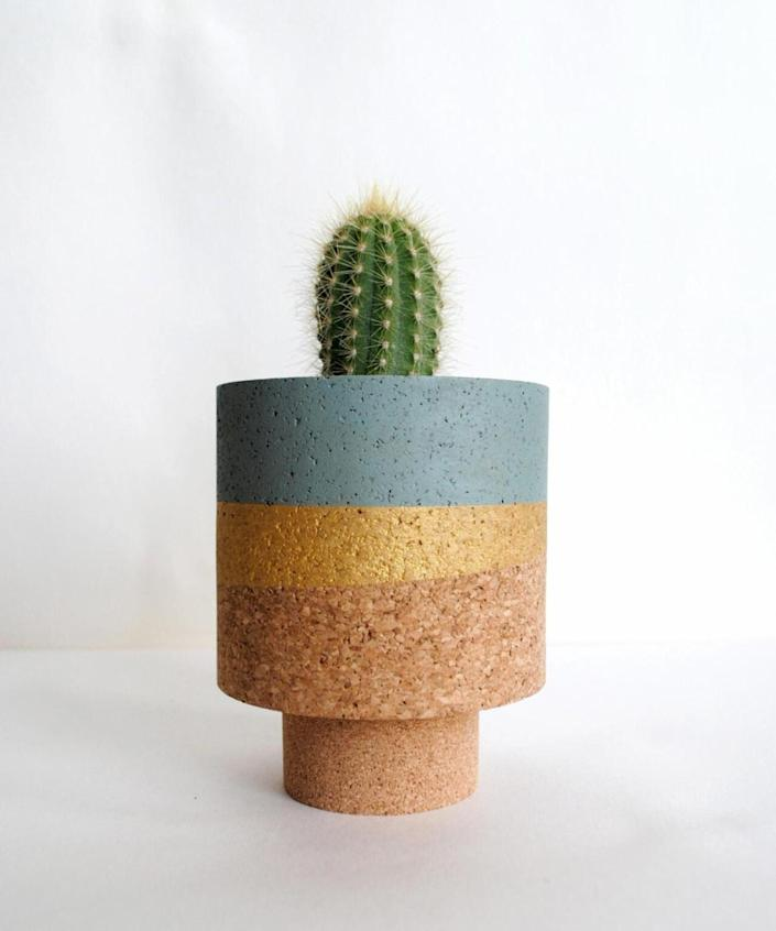 """Not your typical terra-cotta, this cork design is perfect for a small cactus or succulent. $38, Etsy. <a href=""""https://www.etsy.com/listing/821750633/isla-aegean-cork-planter?ref=shop_home_active_4&crt=1"""" rel=""""nofollow noopener"""" target=""""_blank"""" data-ylk=""""slk:Get it now!"""" class=""""link rapid-noclick-resp"""">Get it now!</a>"""