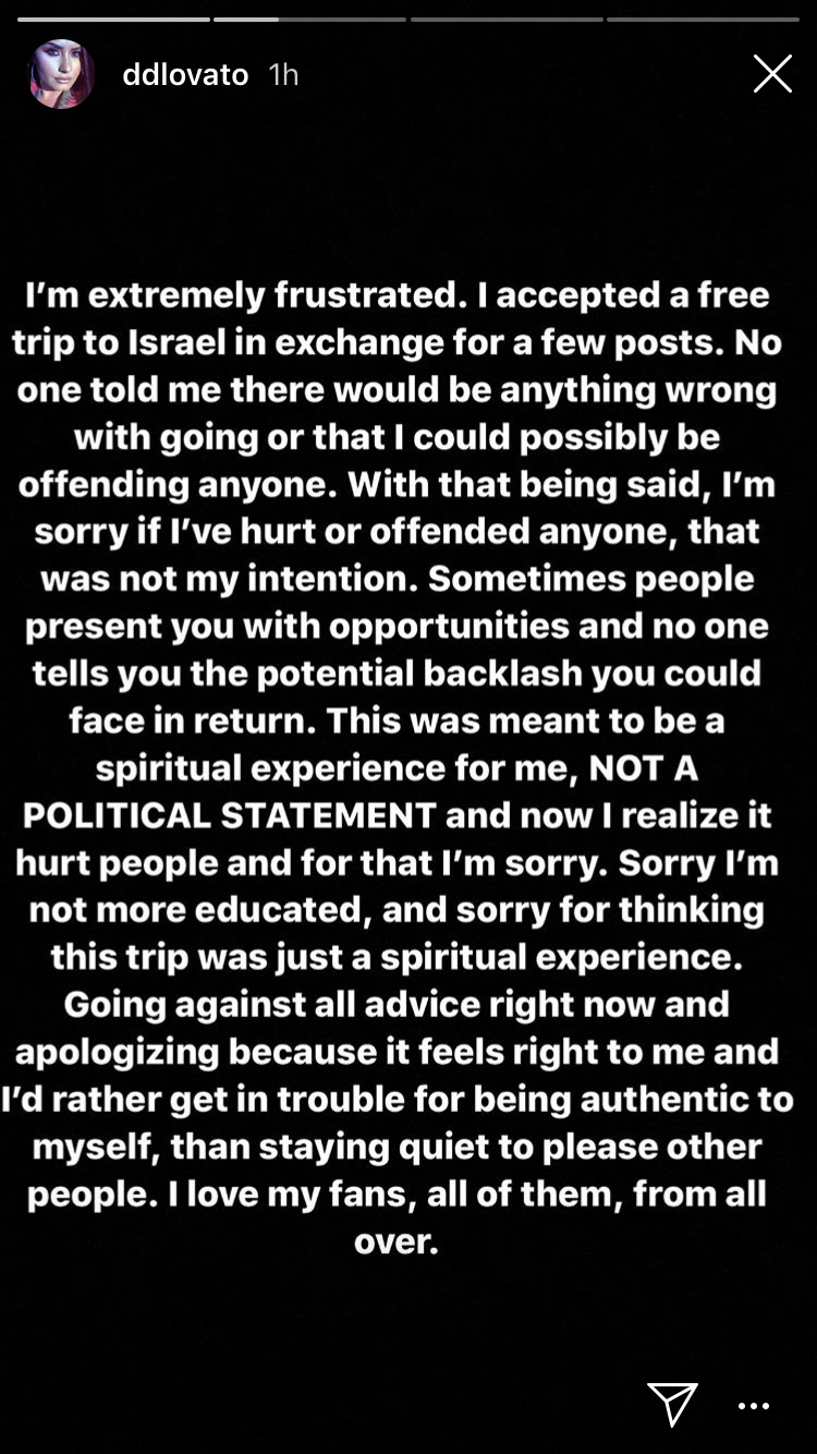Demi Lovato apologizes for offending with Israel trip. (Screenshot: Demi Lovato via Instagram)