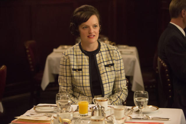 "Peggy Olson (Elisabeth Moss) in the ""Mad Men"" episode, ""A Tale of Two Cities."""