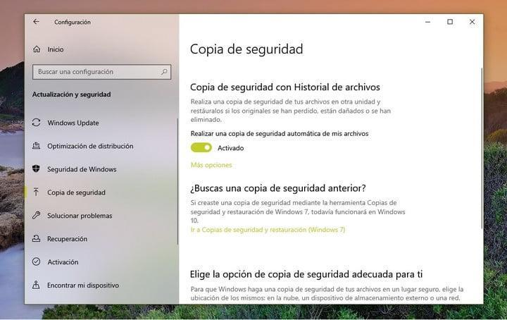 Crear copia de seguridad para reinstalar Windows 10