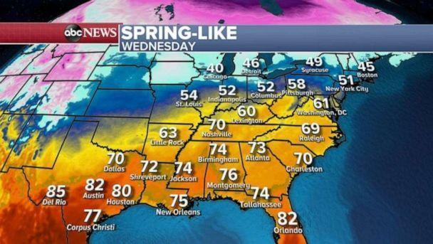 PHOTO: There will be mild weather for the Eastern U.S. today with 70 degree weather in Nashville and temperatures in the 50s in Indianapolis and Columbus.   (ABC News)