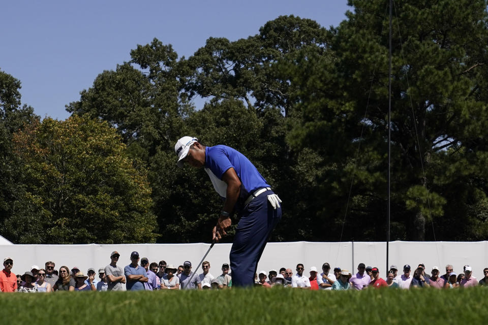 Hideki Matsuyama, of Japan, hits from the third green during the third round of the Tour Championship golf tournament Saturday, Sept. 4, 2021, at East Lake Golf Club in Atlanta. (AP Photo/Brynn Anderson)