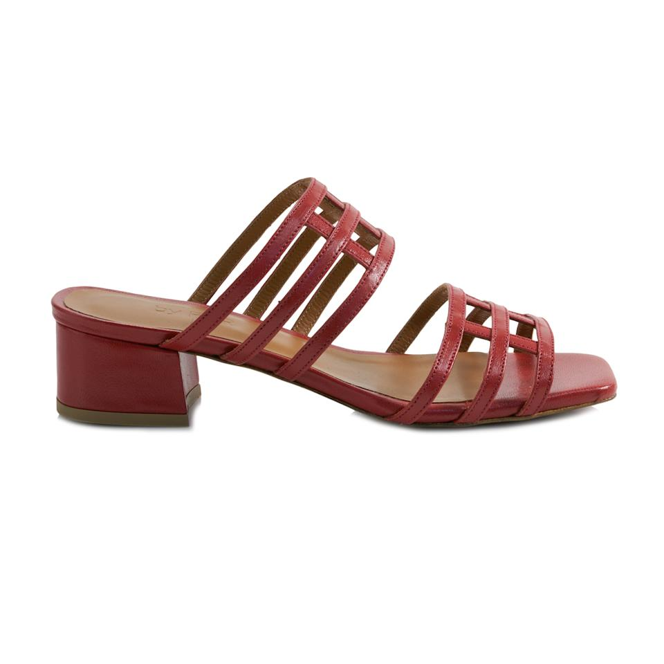 """<p>By Far Double Grid Red Sandals, $287; at <a rel=""""nofollow"""" href=""""https://www.garmentory.com/sale/by-far/shoes-heels/149126-double-grid-red#sm.0000k4c8p6g28cobs4p1f4ns1iwui"""" rel="""""""">Garmentory</a></p> <p></p>"""