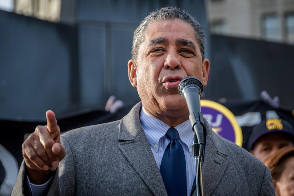 Congressional Representative Adriano Espaillat speaking at a protest in support of Ravi Ragbir. (Erik McGregor/LightRocket via Getty Images)