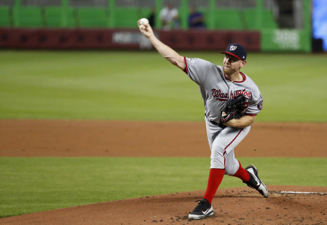 Washington Nationals' Stephen Strasburg delivers a pitch during the first inning of a baseball game against the Miami Marlins, Tuesday, Sept. 18, 2018, in Miami. (AP Photo/Wilfredo Lee)