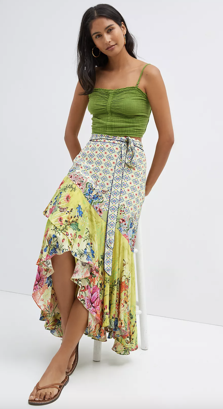 Floral Contrast Maxi Skirt (Anthropologie)