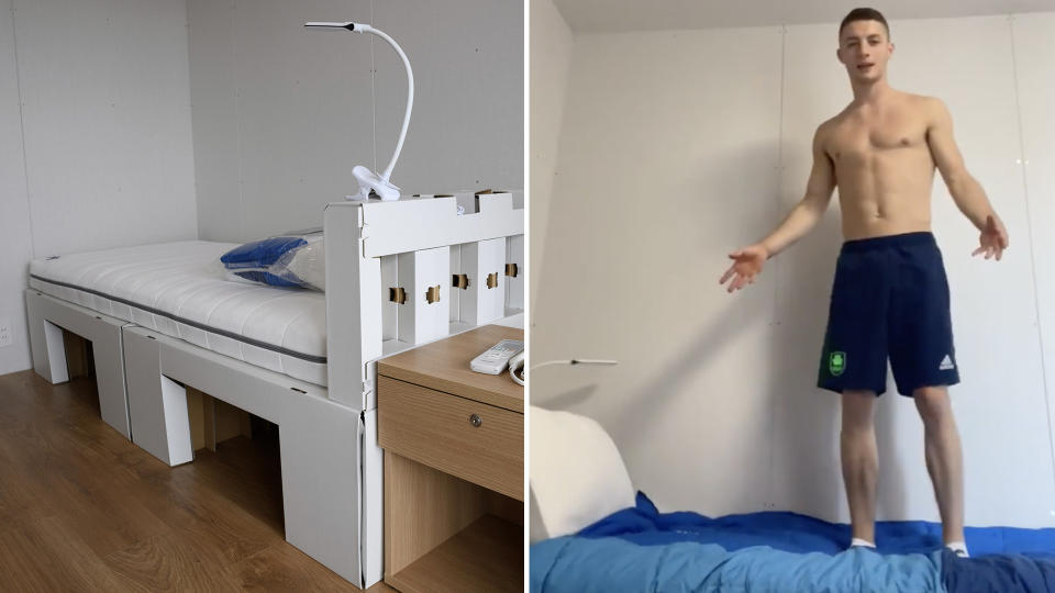 Ireland gymnast Rhys McClenaghan set the record straight on the durability of the beds in the Olympic village. (AP/Twitter)
