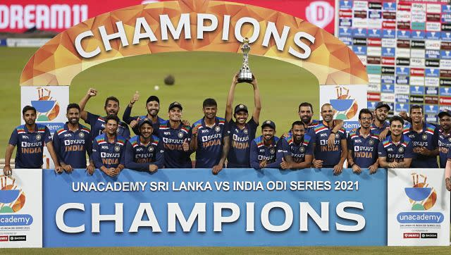 India lift trophy after clinching the three-match series 2-1. They lost the third ODI against Sri Lanka by 3 wickets (DLS Method). AP