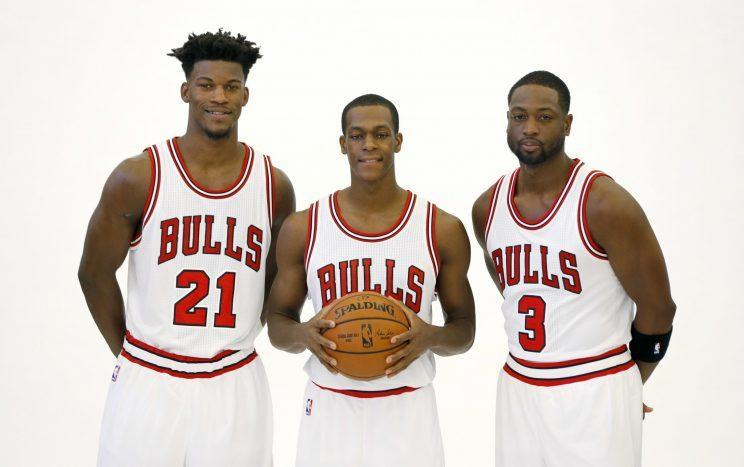 Jimmy Butler, Rajon Rondo, and Dwyane Wade in happier times. (AP)