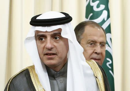 Russian Foreign Minister Sergei Lavrov and his counterpart from Saudi Arabia Adel al-Jubeir attend a news conference in Moscow