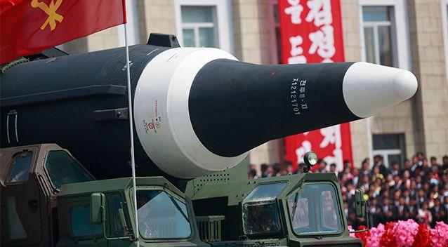A missile on display during a military parade in North Korea. Photo: AP