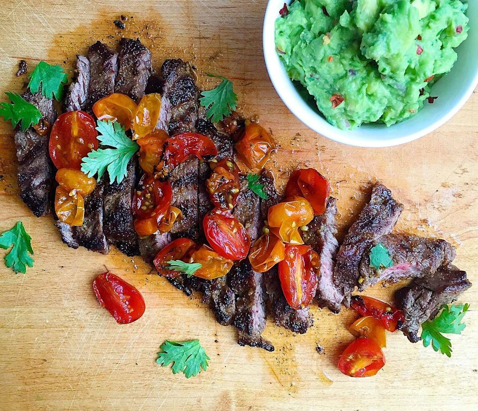 """<p>The debate around tomatoes and keto remains unsolved. If you're taking the diet really seriously, skip them! The guac is flavorful enough on its own.</p><p>Get the recipe from <a href=""""https://www.delish.com/cooking/recipe-ideas/recipes/a43494/grilled-skirt-steak-with-blistered-tomatoes-guacamole-recipe/"""" rel=""""nofollow noopener"""" target=""""_blank"""" data-ylk=""""slk:Delish"""" class=""""link rapid-noclick-resp"""">Delish</a>. </p>"""