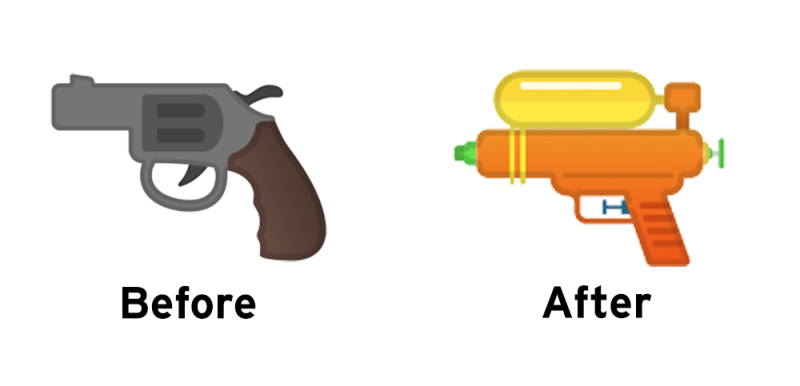 Looks like Google is changing Android's gun emoji into a water gun