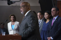 Rep. Bennie Thompson, chairman of the House Homeland Security Committee, center, is joined by, from left, Speaker of the House Nancy Pelosi, D-Calif., Rep. Jamie Raskin, D-Md., Rep. Stephanie Murphy, D-Fla., and Rep. Pete Aguilar, D-Calif., as Pelosi announces her appointments to a new select committee to investigate the violent Jan. 6 insurrection at the Capitol, on Capitol Hill in Washington, Thursday, July 1, 2021. Thompson will lead the probe to examine what went wrong around the Capitol when hundreds of supporters of then-President Donald Trump broke into the building, hunted for lawmakers and interrupted the congressional certification of Democrat Joe Biden's election victory. (AP Photo/J. Scott Applewhite)