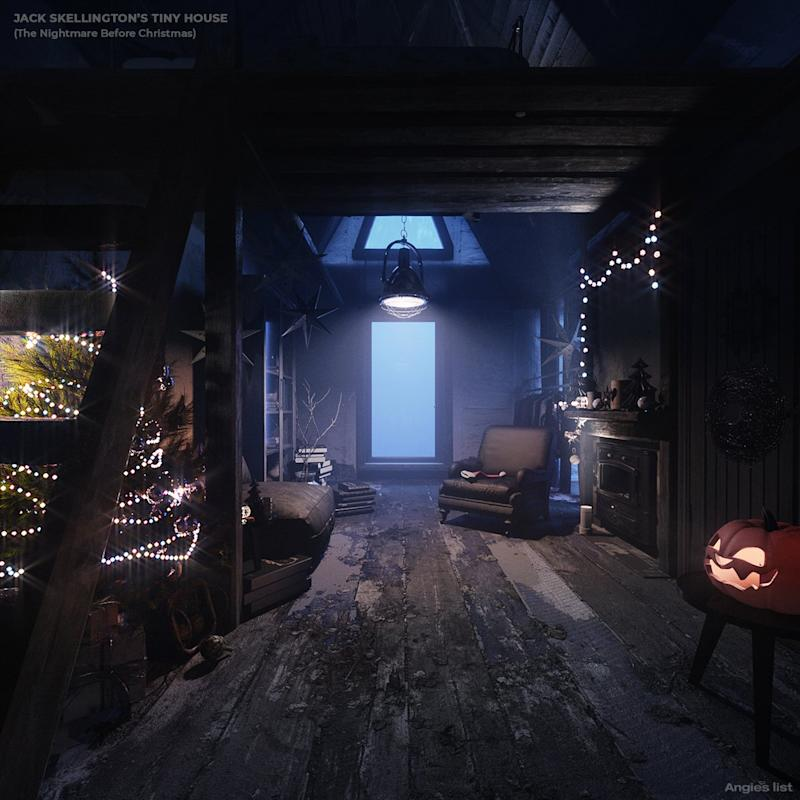 The inside of Jack Skellington's tiny house is dark and dingy.