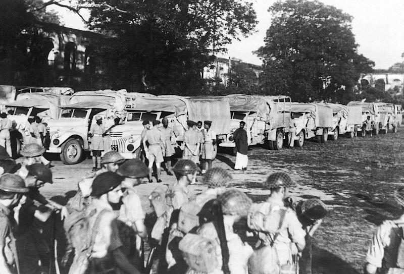 Army lorry convoys bearing food in famine-stricken Bengal, India, 1943. Then-PM Winston Churchill has been criticised for British policies' contribution to the disaster, which killed millions. (Photo: ASSOCIATED PRESS)