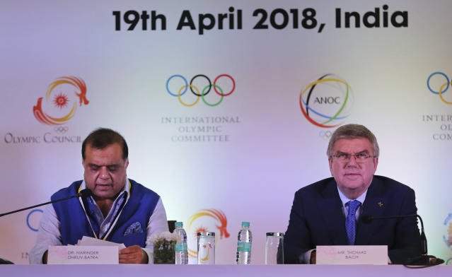 President Indian Olympic Association Narinder Dhruv Batra speaks during a press conference with International Olympic Committee (IOC) President Thomas Bach in New Delhi, India, Thursday, April 19, 2018. During his two-day long stay, Bach is scheduled to meet Indian Sports Minister Rajyavardhan Rathore and newly elected Indian Olympic Association office bearers. (AP Photo/Altaf Qadri)