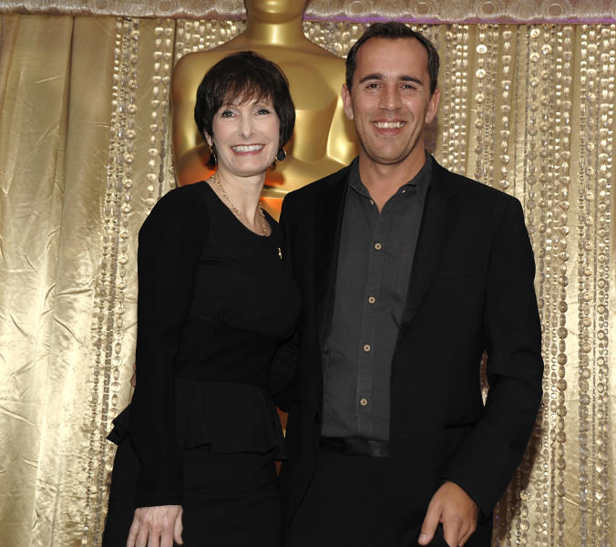 "Producer Gale Anne Hurd, left, and director Nikolaj Arcel pose together during the The Oscars Foreign Language Film Award Directors Reception at The Academy of Motion Picture Arts and Sciences in Beverly Hills, Calif. on Friday, Feb. 22, 2013. Arcel's feature film ""A Royal Affair"" is nominated for Best Foreign Language Film. (Photo by Dan Steinberg/Invision/AP)"