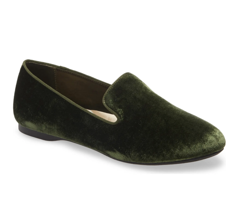 The Starling Loafer in Olive Velvet, $95
