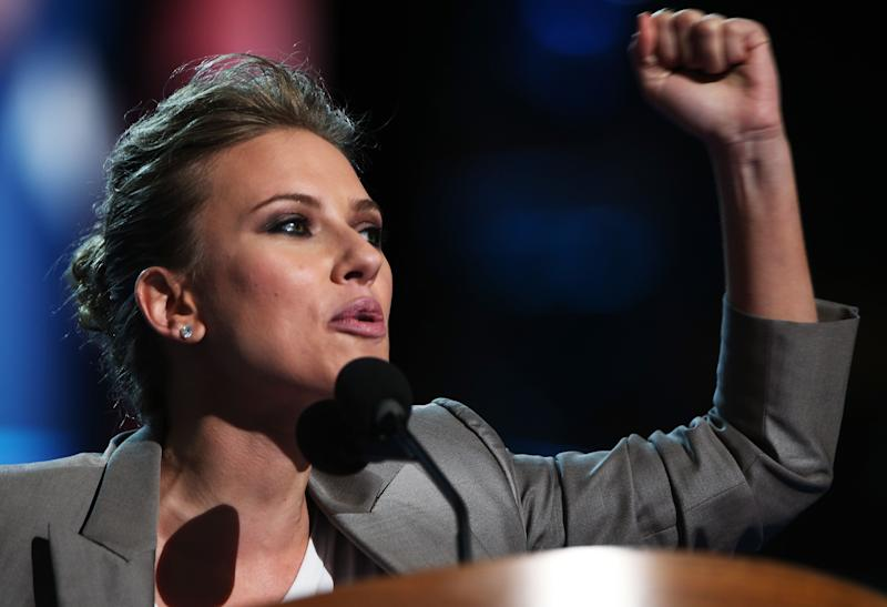 CHARLOTTE, NC - SEPTEMBER 06: Actress Scarlett Johansson speaks on stage during the final day of the Democratic National Convention at Time Warner Cable Arena on September 6, 2012 in Charlotte, North Carolina. The DNC, which concludes today, nominated U.S. President Barack Obama as the Democratic presidential candidate. (Photo by Chip Somodevilla/Getty Images)