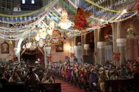 Christians attend a Christmas mass in Sacred Heart Cathedral in Lahore, Pakistan, Friday, Dec. 25, 2020. (AP Photo/K.M. Chaudary)