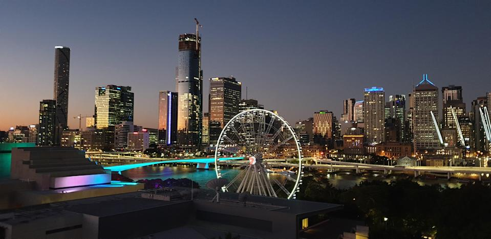 <p>The bright lights of Brisbane seen from the hotel balcony</p> (Chloe Cann)