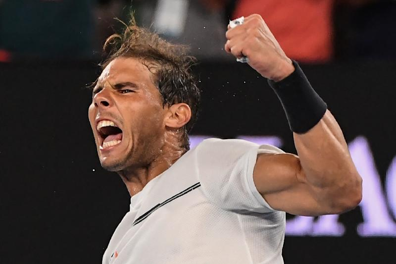 Rafael Nadal celebrates victory against Gael Monfils in the fourth round of the Australian Open in Melbourne