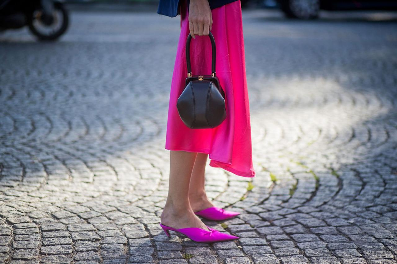 """<p>""""I'm wearing <a rel=""""nofollow"""" href=""""https://www.harpersbazaar.com/uk/fashion/fashion-news/news/a39174/in-praise-of-the-kitten-heel-springs-key-shoe-style/"""">kitten heels</a> a lot this summer. They're good in the city and work with so much – they're a great summer office solution. If you're not keen on flats, they give you a nice lift. They look very modern and that's something I think we've gone full circle on. We've seen so many stilettos, chunky heels and slippers that the kitten heel feels fresh. They're also really practical and look good with everything, whether cropped jeans or a dress.""""</p>"""
