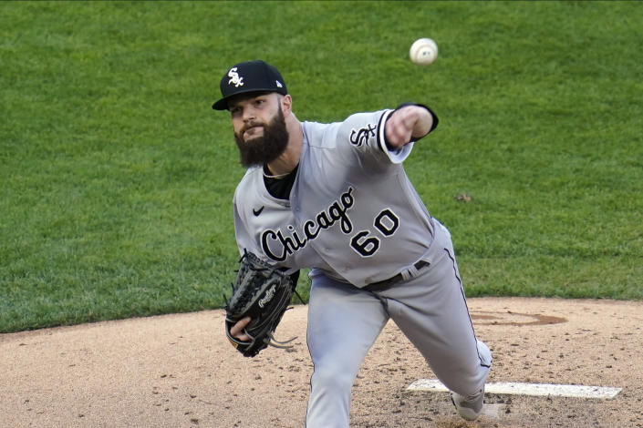 Chicago White Sox pitcher Dallas Keuchel throws against the Minnesota Twins in the first inning of a baseball game, Monday, May 17, 2021, in Minneapolis. (AP Photo/Jim Mone)