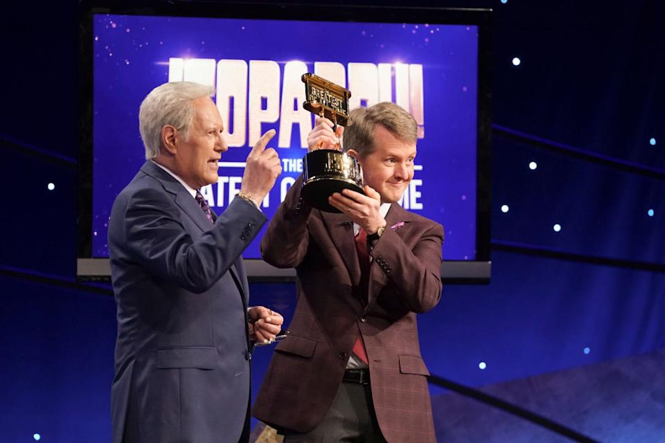 "Alex Trebek congratulates Ken Jennings on winning the ""Jeopardy! The Greatest of All Time"" tournament in 2020. (Photo: Eric McCandless/ABC via Getty Images)"