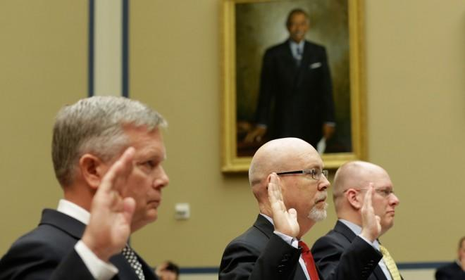 Mark Thompson (left), Gregory Hicks (center), and Eric Nordstrom (right) are sworn in before the House Oversight and Government Reform Committee on May 8.