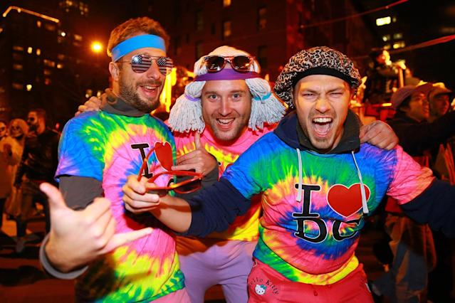 "<p>People wear rainbow political shirts with ""I Love DC"" during the 44th annual Village Halloween Parade in New York City on Oct. 31, 2017. (Photo: Gordon Donovan/Yahoo News) </p>"