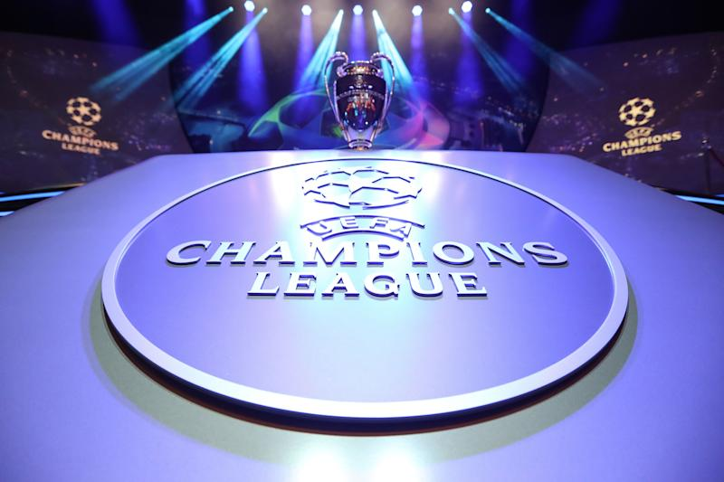 The Champions League Trophy stands on display during the UEFA Champions League football group stage draw ceremony in Monaco on August 29, 2019. (Photo by Valery HACHE / AFP) (Photo credit should read VALERY HACHE/AFP/Getty Images)