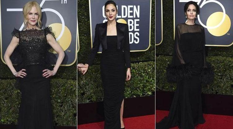 The Golden Globes blackout. Stars such as Nicole Kidman, Gal Gadot and Angelian Jolie all wore black. Source: Getty