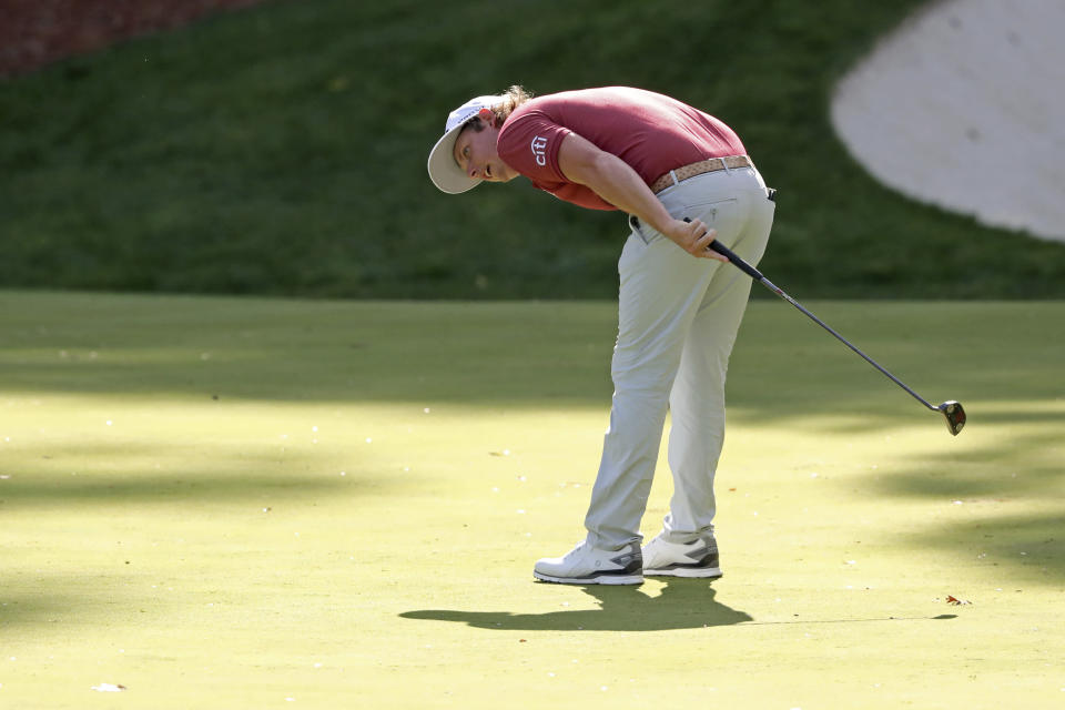 Cameron Smith reacts after missing his birdie-attempt on the 13th green during the final round of the Masters golf tournament Sunday, Nov. 15, 2020, in Augusta, Ga. (Curtis Compton/Atlanta Journal-Constitution via AP)
