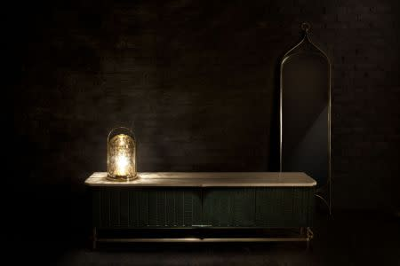Bikaner Aged Glass Lamp, Maharaja Long Sideboard, Mahal Standing Full Mirror
