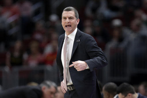 Maryland head coach Mark Turgeon directs his team during the first half of an NCAA college basketball game against the Nebraska in the second round of the Big Ten Conference tournament, Thursday, March 14, 2019, in Chicago. (AP Photo/Kiichiro Sato)