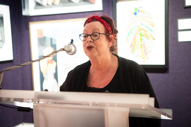 Jo Brand speaking at The Eve Appeal 'Art for Eve' Auction launch party, at Bonhams in London. The auction features 13 lots raising money for the charity, including donations from Sir Peter Blake, Grayson Perry, Howard Hodgkin and Anish Kapoor. (Photo by Matt Crossick/PA Images via Getty Images)