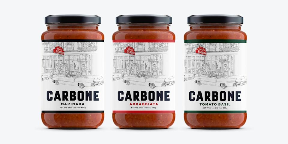 """<p>""""I've heard so much about New York City restaurant Carbone from my food-obsessed husband, who counts it as his favorite restaurant. Its newly launched line of sauces allowed me to taste what all of the hype is about. The <span>4-Pack Variety of Three Sauces</span> ($40) includes marinara, tomato basil, and my fav, arrabbiata. I love that each of these sauces contain minimal ingredients and are house-made in small batches. They've been jazzing up my favorite pasta dishes."""" - GF</p> <p><br></p>"""